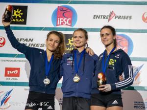 Mladinka Vita Lukan je v Moskvi osvojila naslov mladinske svetovne prvakinje 2018 v težavnosti (foto Eddie Fowke - IFSC)